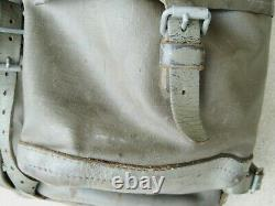 Vtg Large SWISS ARMY Military Rubberized Canvas Leather Backpack Rucksack