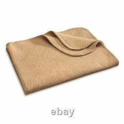 WOOL BLANKET Italian Army Military Surplus Fire Resistant Cover Tan Collectible