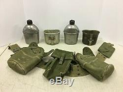 WWII WW2 US Military Army Belt First Aid Pouch 2 Canteens Ammo Cups