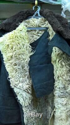 Warm TULUP Bekesha Black Jacket Russian Army Officer Winter Sheepskin Coat USSR