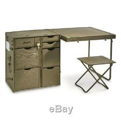 Wooden Field Desk 3 Piece U. S. Military Surplus Issue Lockable Collectible Army
